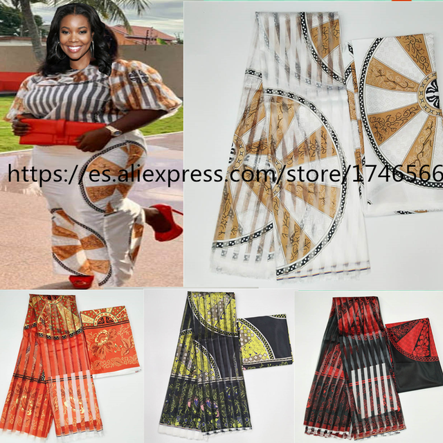 Hot sale Gahna Style satin silk fabric  with organza ribbon African wax design ! J70825