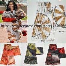 Tissu en soie en satin Style Gahna offre spéciale, avec ruban en organza, pour cire africaine! J70825