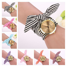 Women Girl Watches New Fashion bow-knot Stripe Floral Cloth