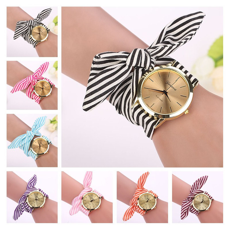 Women Girl Watches New Fashion Bow-knot Stripe Floral Cloth Quartz Bracelet Wristwatch Luxury Ladies Dress Clock Reloj Mujer#c