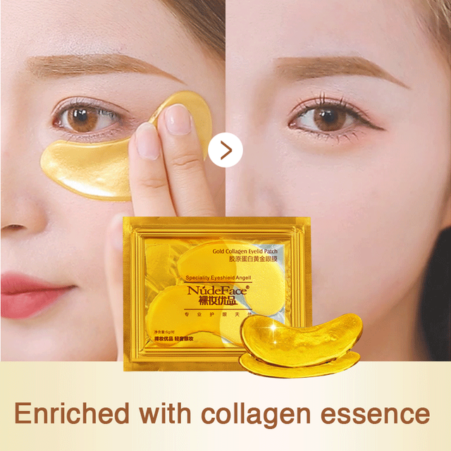 cosmetics collagen eye patches Mask skin care 24k Gold Crystal Eye Patch Colageno Gel Eye Pads eye patches mask 3