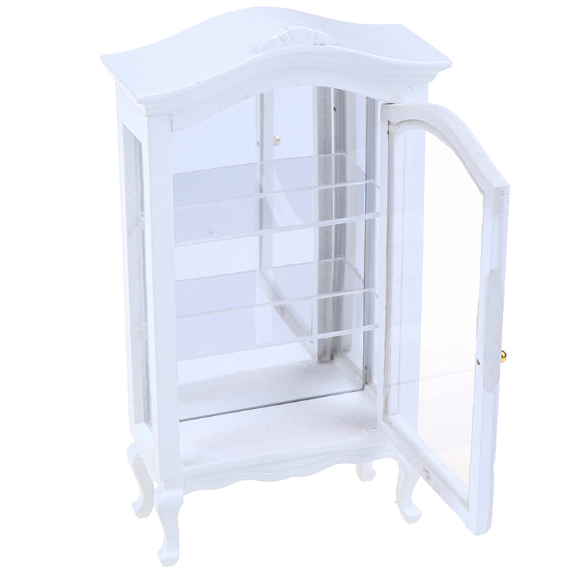 New 1/12 White Dollhouse Miniature Furniture Kitchen Dining Cabinet Cupboard Showcase Display Shelf