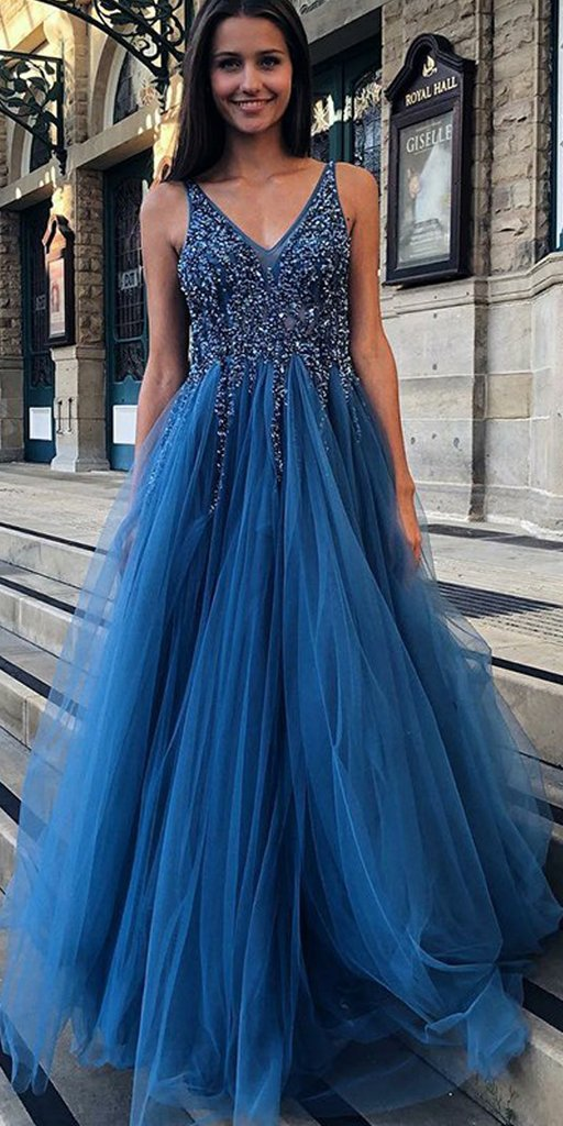 Beaded V Neck Prom Dresses Long 2020 Sleeveless Backless Tulle A Line Formal Evening Party Gowns Women Robe De Soiree