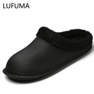Winter Home Fur Slippers Men Casual Super Warm Cotton Slipon Shoes Waterproof Lovers Indoor Plush House Unisex Half Shoes Couple
