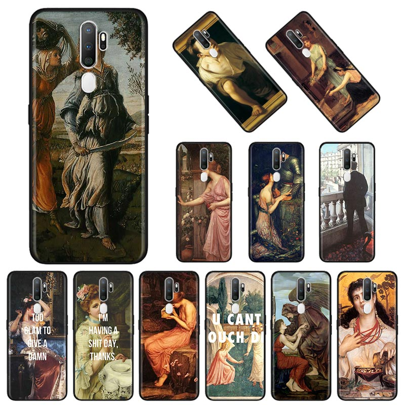 Classic Art Oil painting Soft <font><b>Case</b></font> for <font><b>Oppo</b></font> <font><b>A5</b></font> A9 <font><b>2020</b></font> Reno3 F11 Pro Find X2 Lite Pro ACE2 A31 F15 A52 A72 A92 A92s Cover image