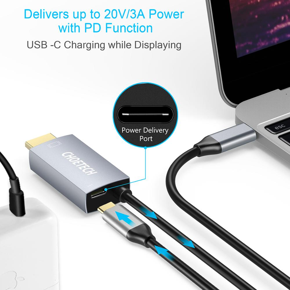 Image 2 - CHOETECH USB 3.1 Type C to HDMI Cable Adapter Thunderbolt 3 Compatible With 60W PD Charging Port For Macbook Galaxy S9 Note 8    -