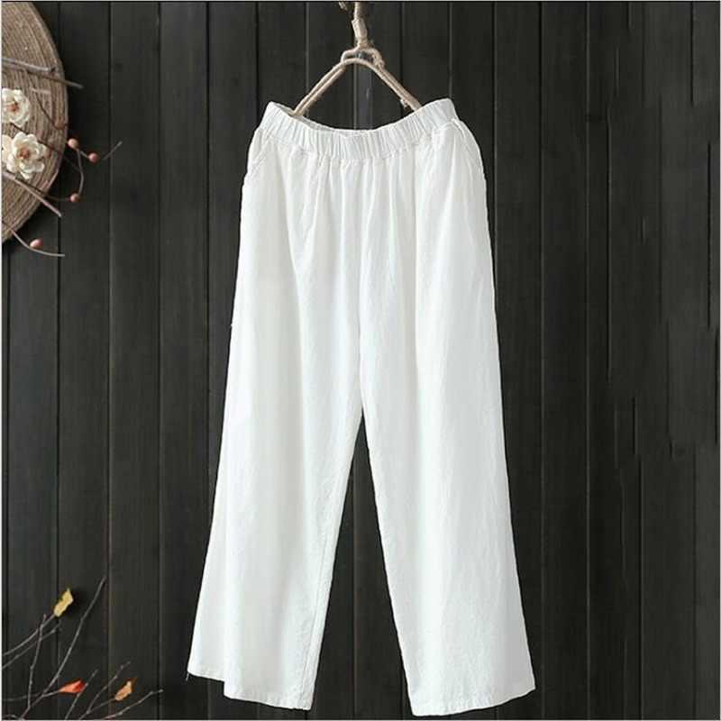 Artı boyutu beyaz pamuklu pantolonlar kadın yaz elastik bel gevşek rahat siyah geniş bacak pantolon kadın cep pamuk keten pantolon