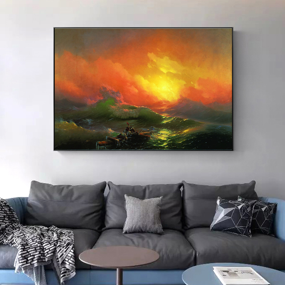 Russian Famous Painting On The Wall The Ninth Wave Wall Art Canvas By Ivan Aivazovsky Classical Seascape Picture For Living Room