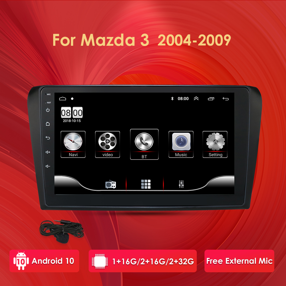 Android 10 9 Inch Car Radio Stereo GPS Navigation For <font><b>Mazda</b></font> <font><b>3</b></font> <font><b>2004</b></font> - 2009 1G 16G WIFI Free MAP Quad Core Car Multimedia Player image