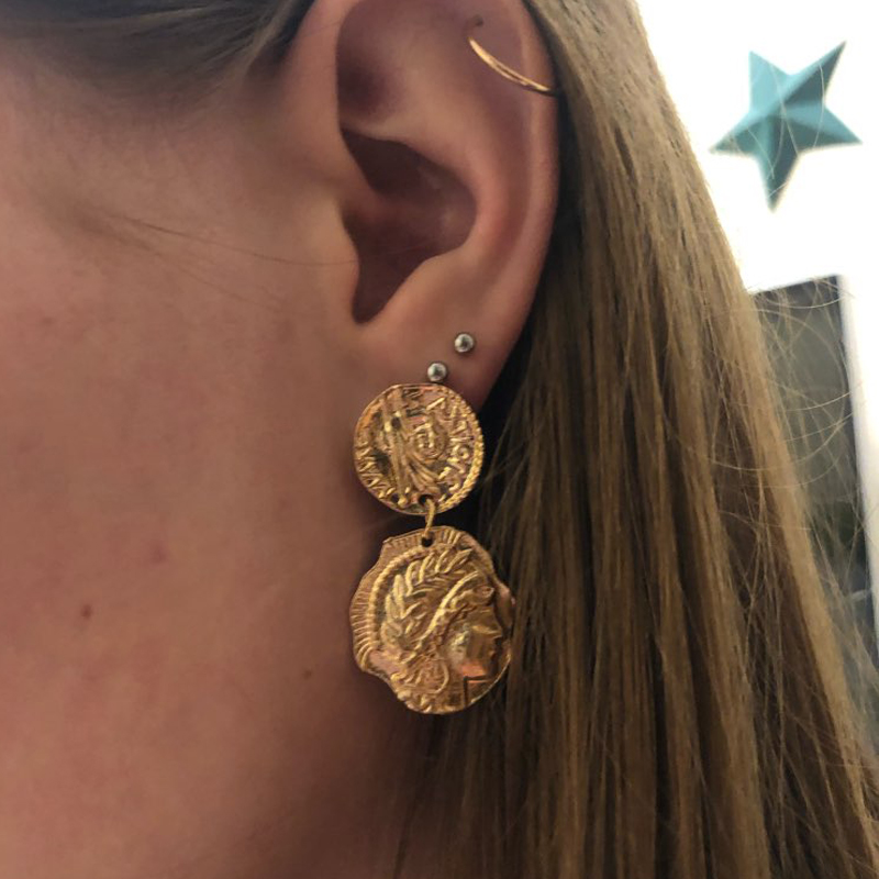 docona Vintage Engraved Coin Drop Dangle Earrings for Women Figure Face Long Round Coin Pendant Earring Pendientes 4897