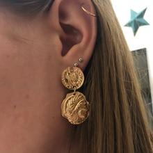 Pendientes colgantes con forma de moneda grabados Vintage de docona para mujer, Pendientes largos redondos con Forma de cara de figura y moneda 4897