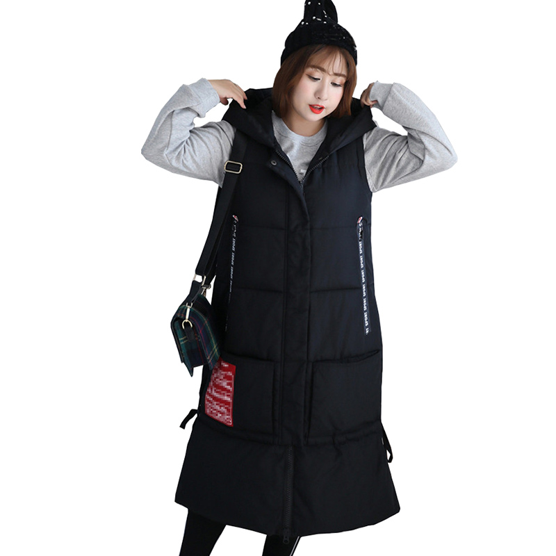 Plus size 4XL-8XL Cotton Vest Women Jacket Autumn Winter Long Waistcoat Thicken Hooded Outerwear Oversize Sleeveless Parkas G695