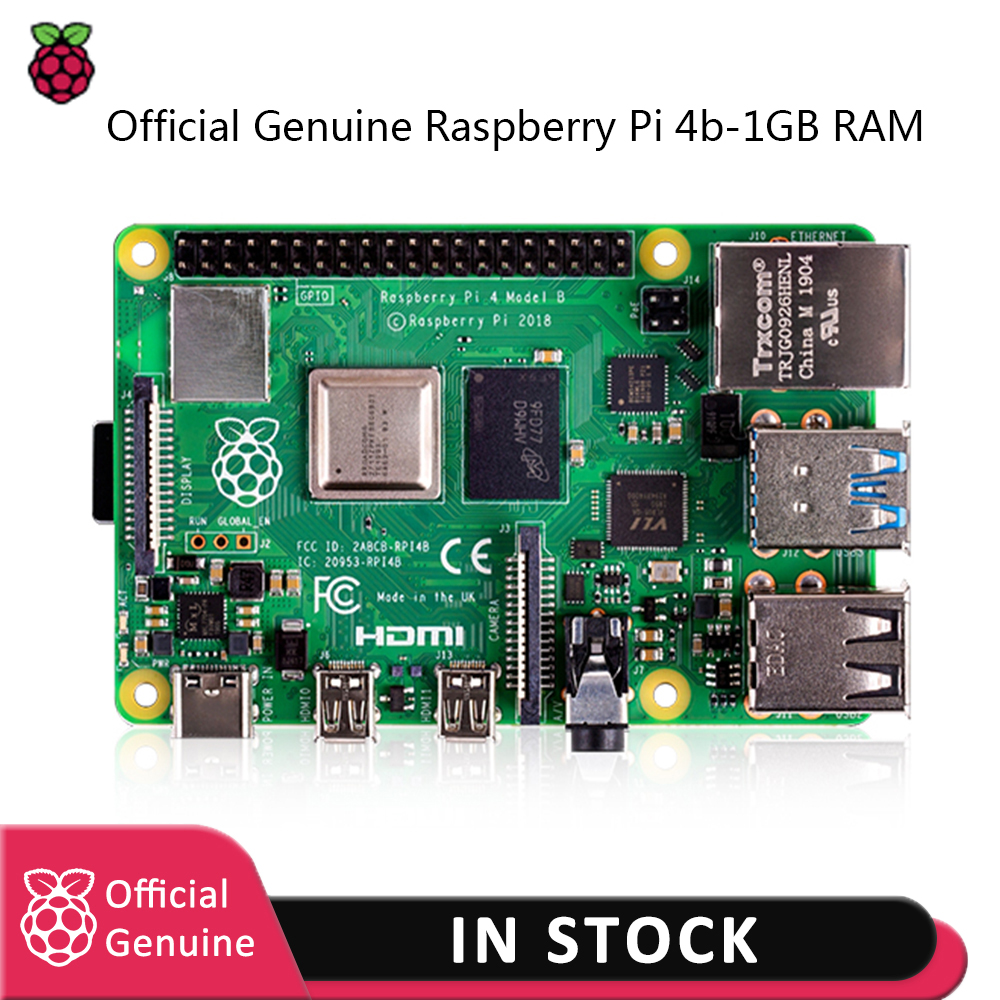 Raspberry Pi 4 Model Kit-1GB RAM BCM2711 Quad Core Cortex-A72 ARM V8 1.5GHz With EU/US Type-c Power Charger+ Pi 4 Heatsink