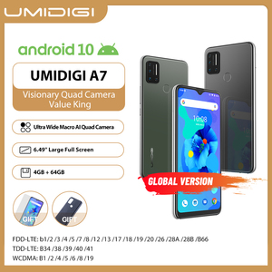 UMIDIGI A7 Smartphone Global Version Android 10 OS 6.49'' Large Full Screen 4GB 64GB ROM Quad Camera Octa-Core Processor Phones
