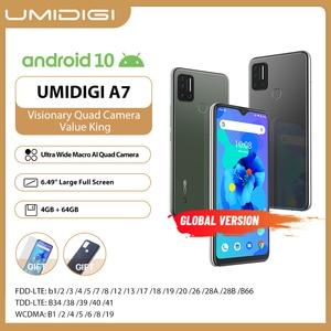 UMIDIGI A7 Smartphone Global Version Android 10 OS 6.49'' Large Full Screen 4GB 64GB ROM Quad Camera Octa-Core Processor Phones