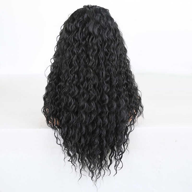 Rongduoyi peruca cabelo preta, longa, fibra encaracolada, perucas frontal, para mulheres, mix resistente ao calor, loira perucas de renda