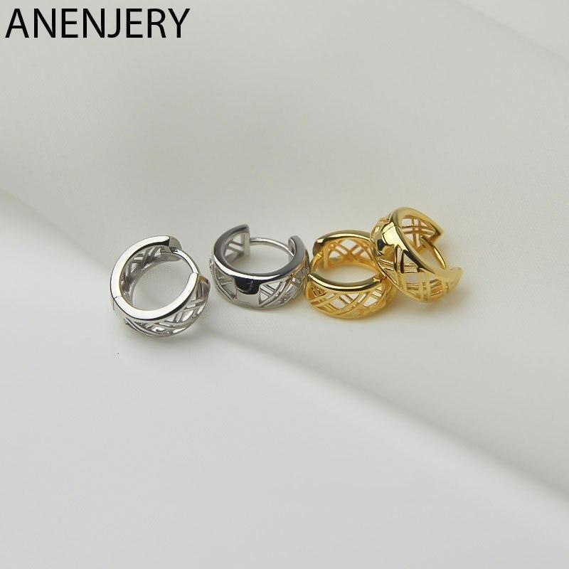 ANENJERY 925 Sterling Silber Mesh Hohl Hoop Ohrringe Frauen 2021 Neue Mode Persönlichkeit Vielseitig Ohr Zubehör S-E1440