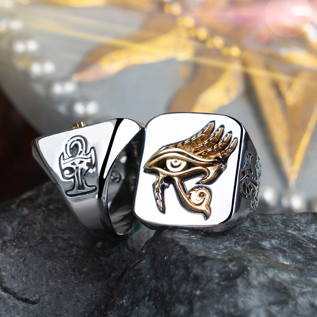 ホルス男性用指輪女性銅とステンレス鋼インデックスリングファッションジュエリー hippop ストリート文化 mygrillz
