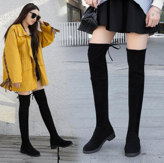 NAUSK Thigh High Boots Female Winter Boots Women Over The Knee Boots Flat Stretch <font><b>Sexy</b></font> Fashion <font><b>Shoes</b></font> <font><b>2018</b></font> Black Botas Mujer image