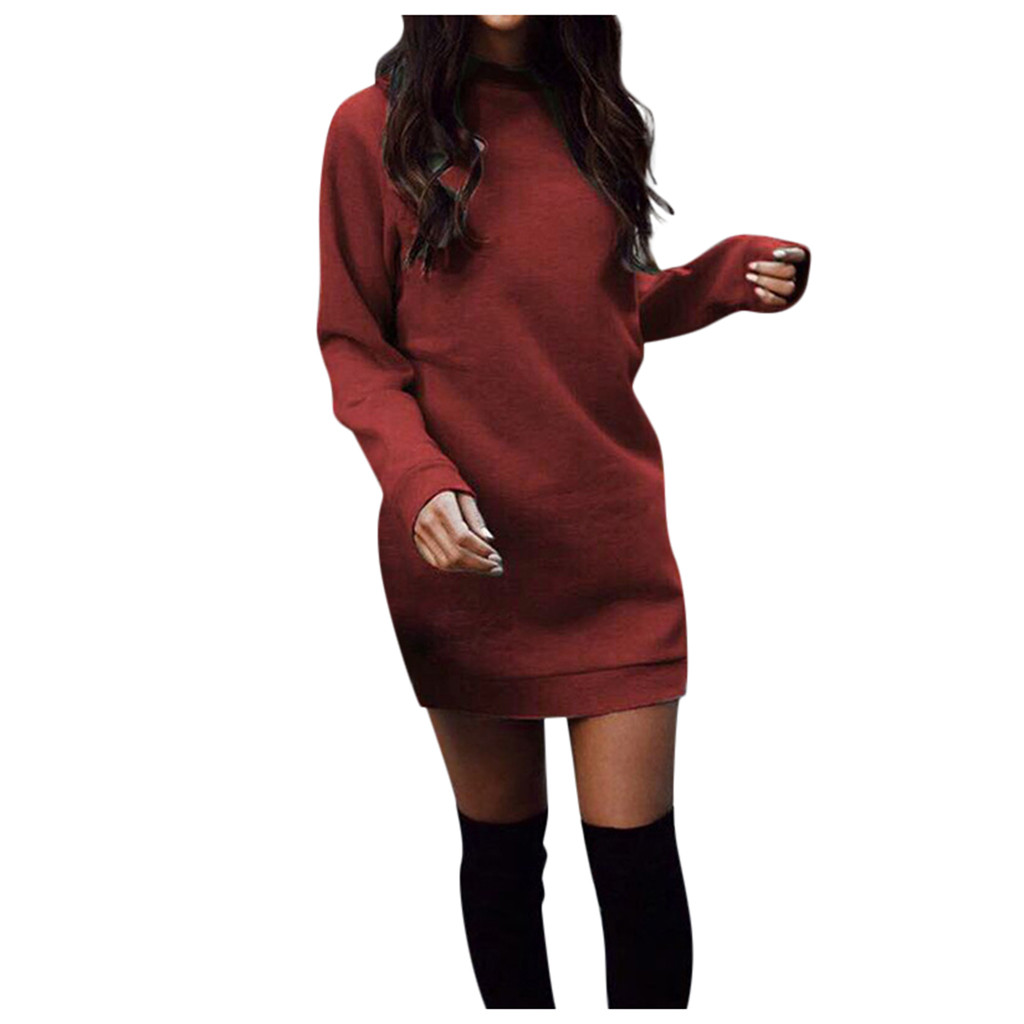 Women Slim Long Sleeve Solid Mini Jumper Sweater Dress
