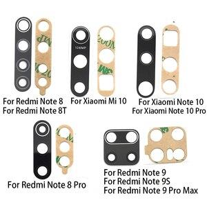 Lente de vidro da câmera traseira traseira lente de vidro com cola peças reparo substituição para xiaomi redmi nota 8 pro/nota 9s 10 9a