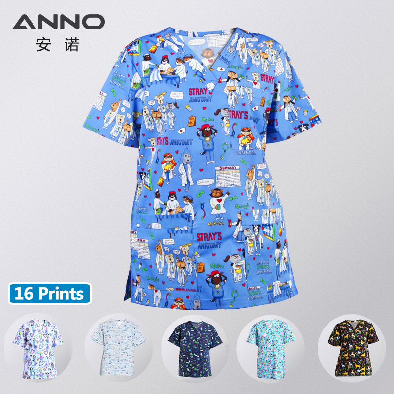 ANNO Medical Scrubs For Women Men Beauty Cente Clinical Nursing Uniforms Surgical Gown Medical Clothes TOP