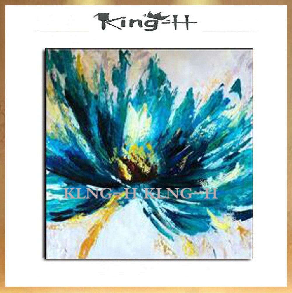 Pintura al óleo azul de la flor pintado a mano chino del estilo envío gratis lienzo flor pintura arte decoración pared del hogar