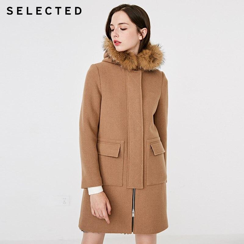 SELECTED Women Detachable Raccoon Fur Collar Wool Coat |418427518
