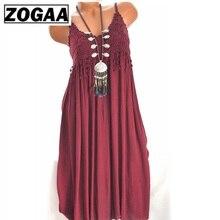 ZOGAA Women Summer Dress Boho Sexy Spaghetti Strap Solid Beach Sundress Female Mid-Length Vestidos Plus Size S-5XL