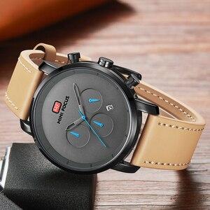 Image 4 - นาฬิกาแฟชั่นผู้ชายอเนกประสงค์ Dial Sub Multi Function Slim นาฬิกาผู้ชายหนังนาฬิกาสายรัดข้อมือ Relogio Masculino