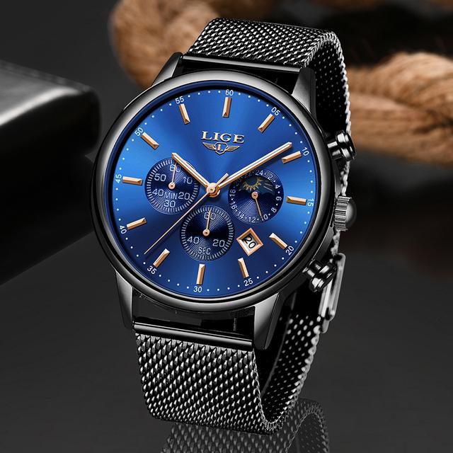 LIGE 2019 New Mens Watches Top Brand Luxury Waterproof Fashion Moon Phase Watch Quartz Watch Men Sports Chronograph Reloj Hombre