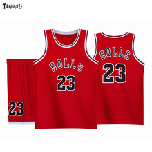 цена на BOLLS #23 throwback Basketball jersey sets kids jerseys high qualiy sportswear suit kid sport vest and shorts set Quick Dry 2020