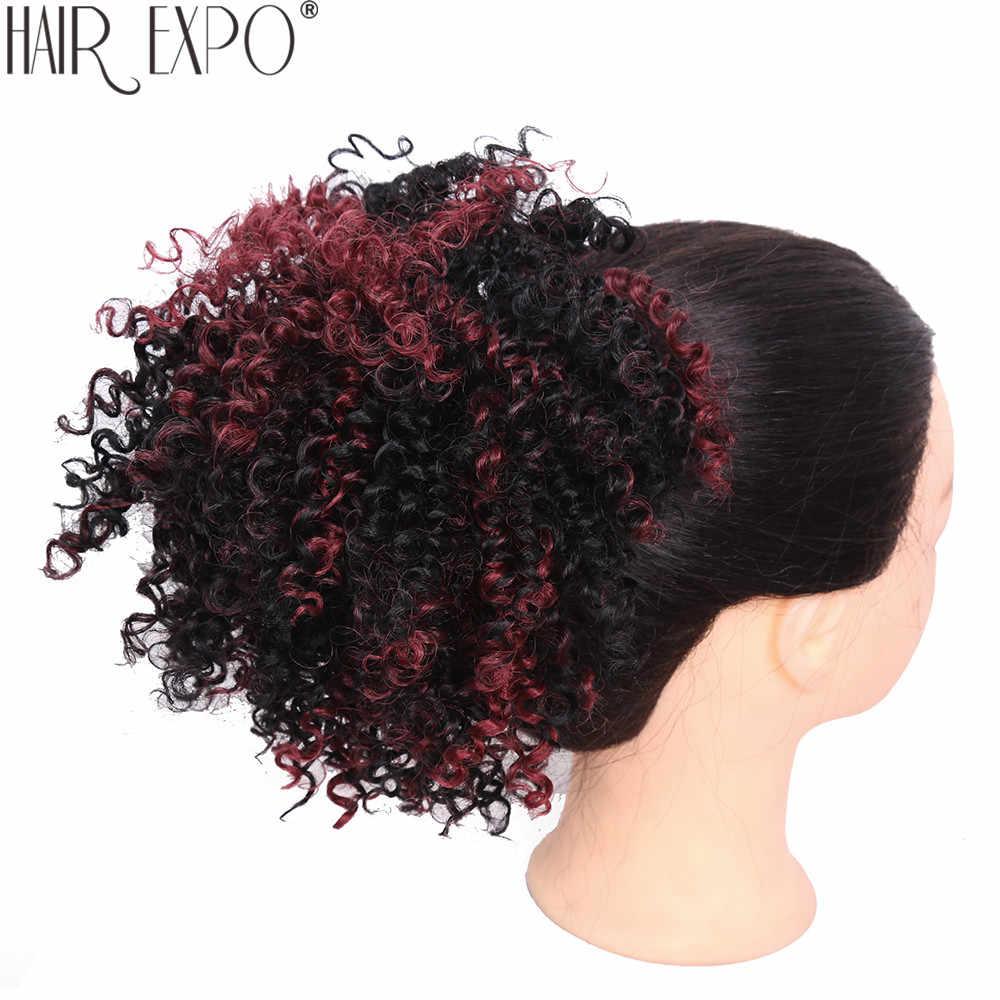 8 pulgadas corto rizado moño de pelo sintético cordón Cola de Caballo Afro Puff Chignon cabello piezas para mujeres Updo Clip extensión de cabello