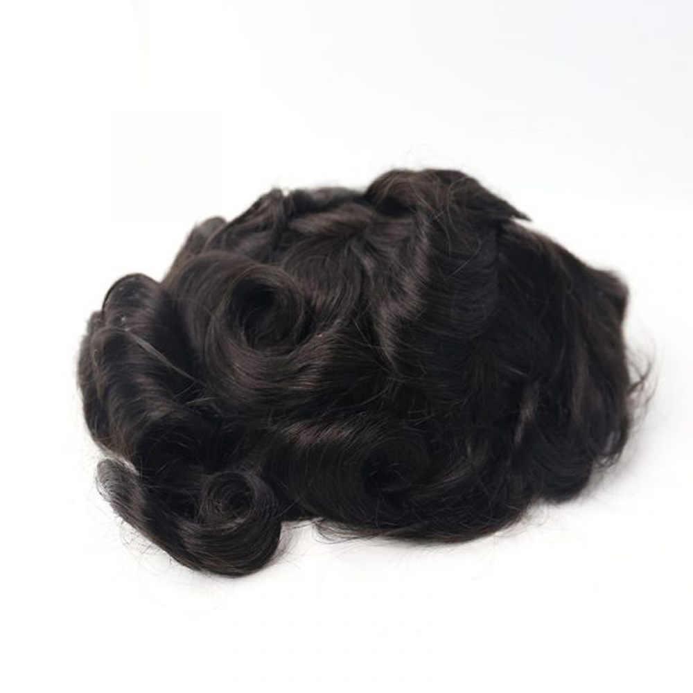 BYMC, Mono fino para hombres, 100% de cabello humano Remy, peluquín para hombres, peluca de aspecto Natural Remy, reemplazo de cabello para hombres cómodo