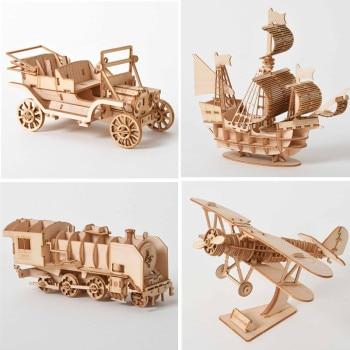 3D Wooden Puzzle Model  DIY Handmade  Mechanical toys for Children Adult Kit Game Assembly ships train airplane Model Kit 1
