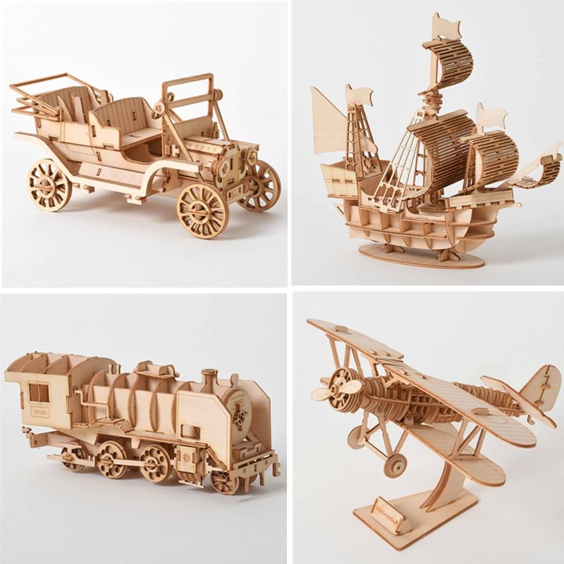 3D Wooden Puzzle Model  DIY Handmade  Mechanical For Children Adult Kit Mechanical Game Assembly
