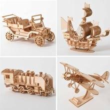 3D en bois Puzzle modèle bricolage à la main jouets mécaniques pour enfants Kit adulte jeu assemblage navires train avion