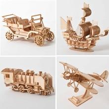 3D Wooden Puzzle Model  DIY Handmade  Mechanical toys for Children Adult Model  Kit Game Assembly Model ships train airplane