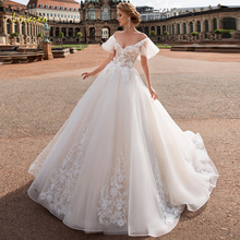Loverxu V Neck Ball Gown Wedding Dresses 2019 Chic Applique Flare Sleeve Backless Bride Dress Chapel Train Bridal Gown Plus Size