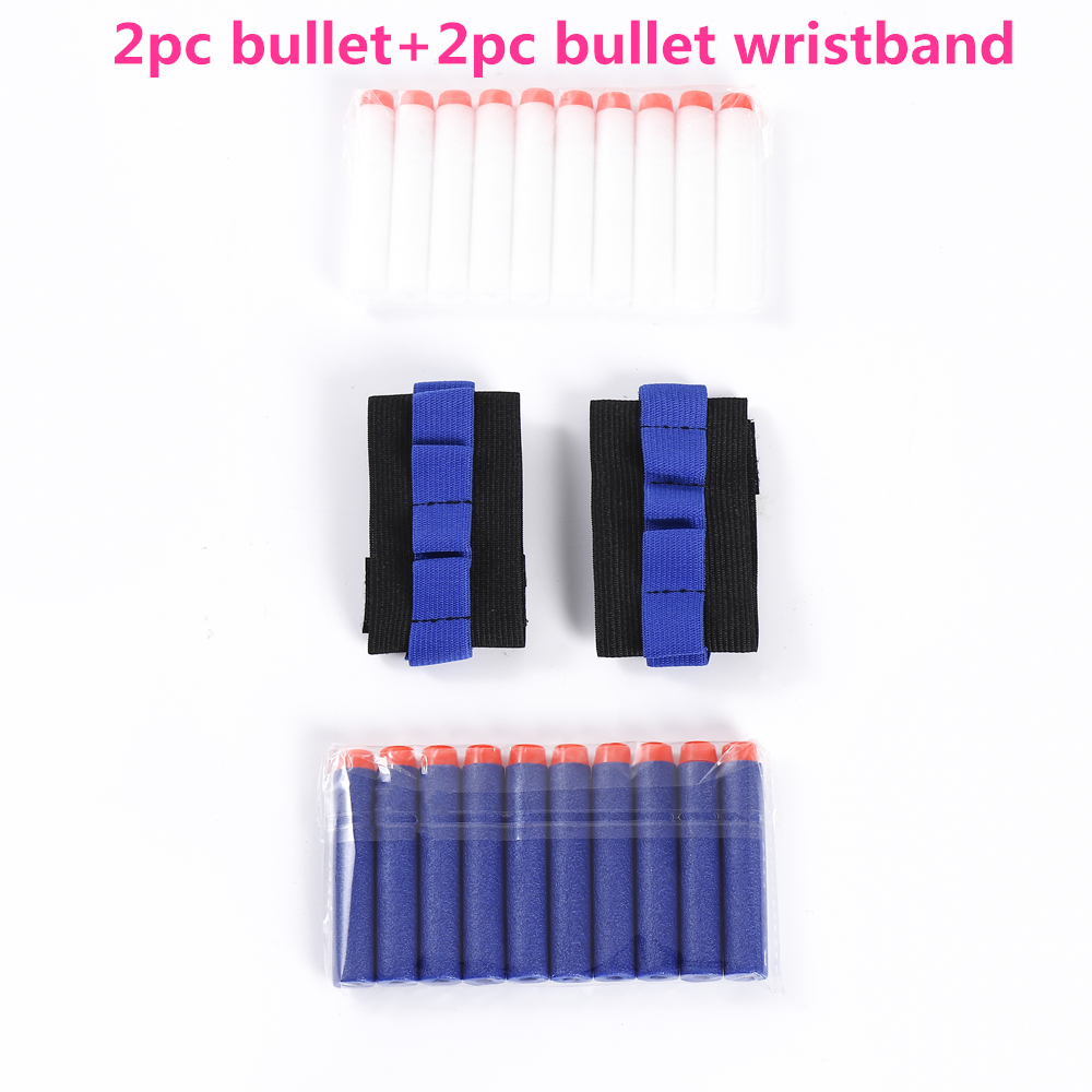 2pc Soft Bullet+2pc Bullet Wristband For Nerf Gun Holder Professional Player Eva Bullet Accessories Outdoor Game Equipment