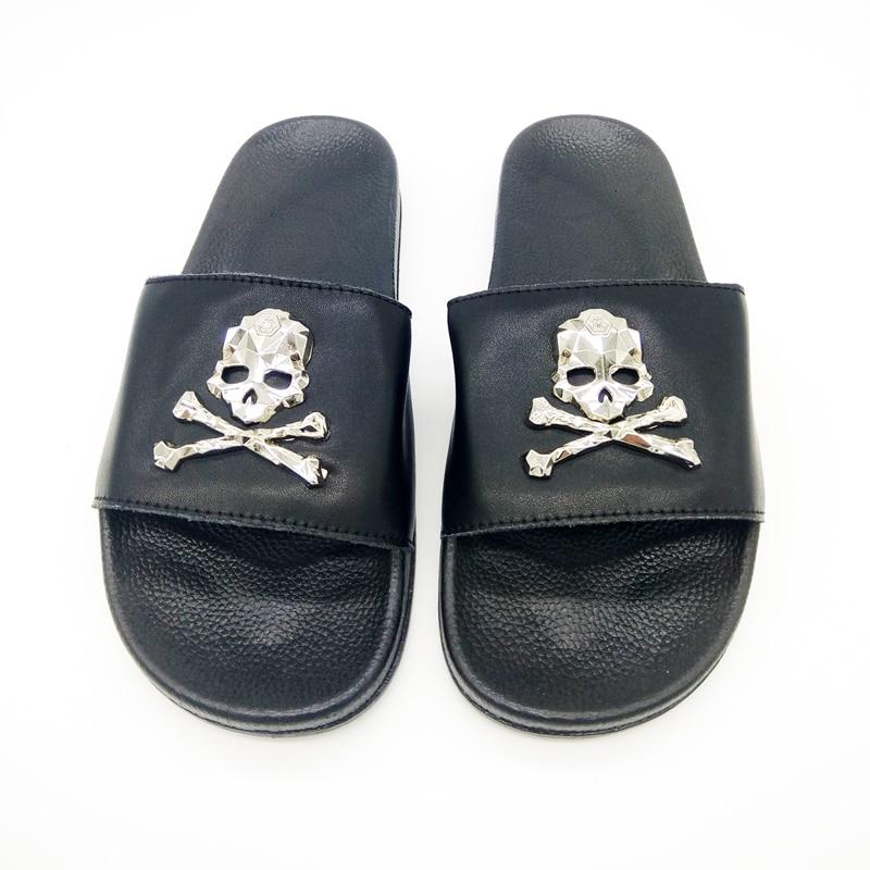 Goth Punk Skull Print /& Studs Platform Slide Mules Sandals Shoes Adult Women