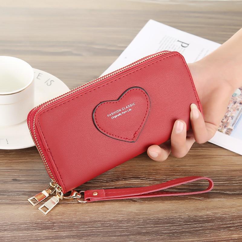 Wristband Double Zipper Women Long Wallet  Large Capacity Wallets Female Lady Purses Phone Pocket Card Holder Cartera Mujer