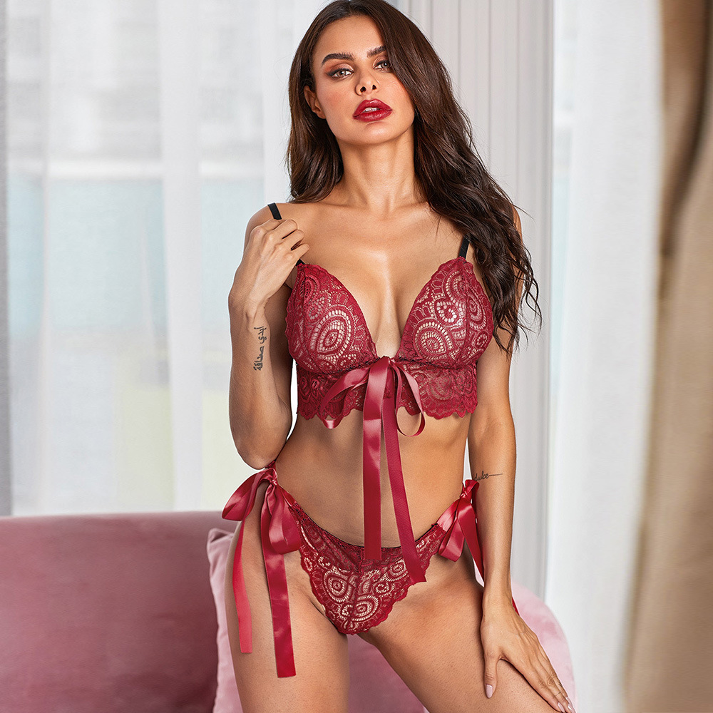Shi Ying Europe And America Sexy Bikini Split Type Sexy Pajamas Lace Satin Bow Bralette Set 43125