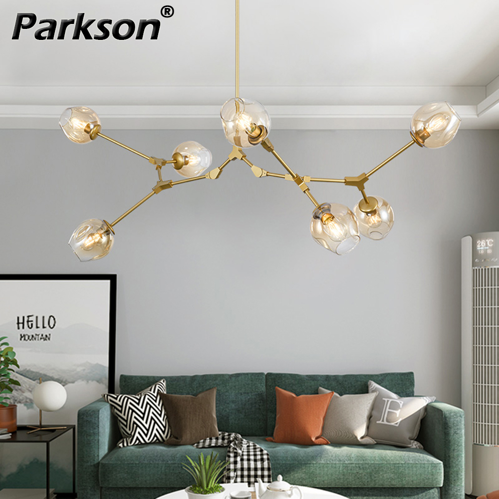 Modern Glass Chandelier Lighting For Pubilc Loft AC 85-265V Max 60W/heats Plated Clear Gray Amber Glass Lampshade Ceiling Lamp