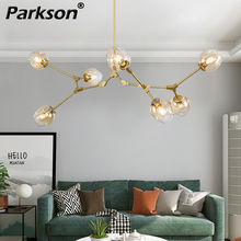 Modern Glass Chandelier Lighting For Pubilc Loft AC 85 265V Max 60W/heats Plated Clear Gray Amber Glass Lampshade Ceiling Lamp