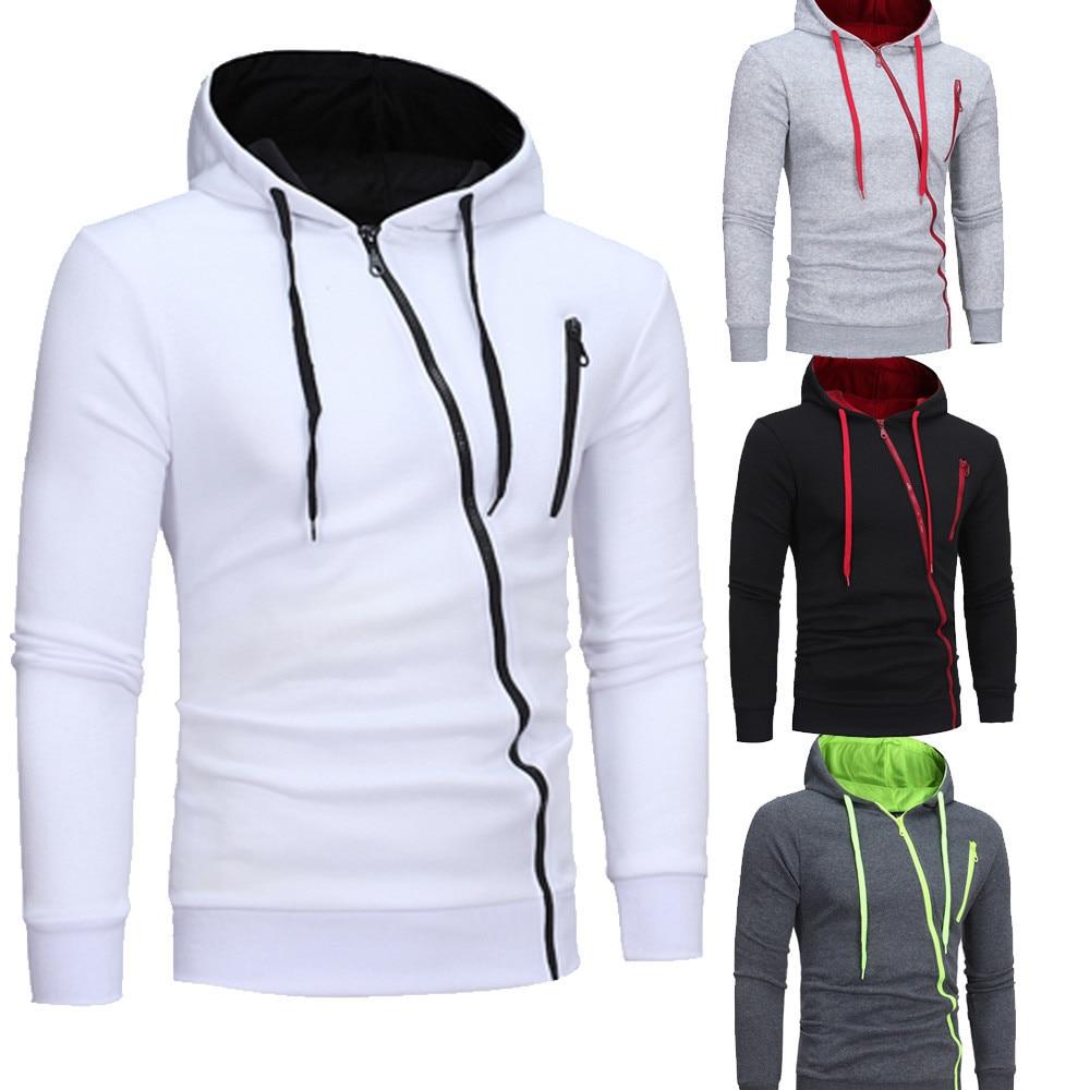 Mens' Long Sleeve Hoodie Hooded Sweatshirt Tops Jacket Coat Pocket Cotton Casual Zipper Men Small Pattern Sweatshirts