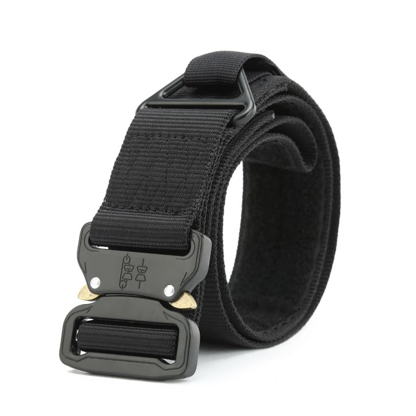 Military Tactical Belt Men Army Metal Buckle Nylon Belt For Jeans Pants 4.3CM Equipment Heavy Duty Canvas Waist Belt With Velcro