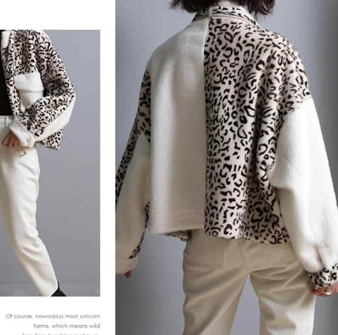 2019 tempérament court fonds cuir et fourrure manteau ample femme fendu Joint imprimé léopard Jinshui vison Mao Yiti costume-robe
