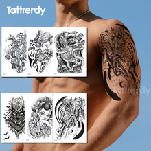 temporary tattoos for men arm shoulder tattoo decal tribal black waterproof tatoo stickers body summer sexy