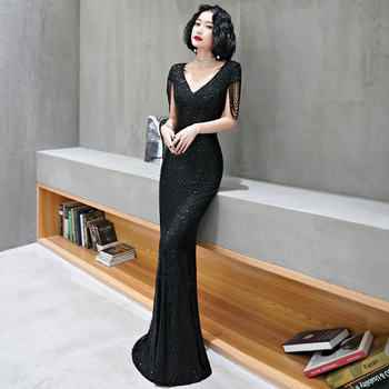AE608 Black Little Mermaid Evening Dresses Long Elegant V Neck Short Sleeve Sequined Formal Party Gown Robe Longue